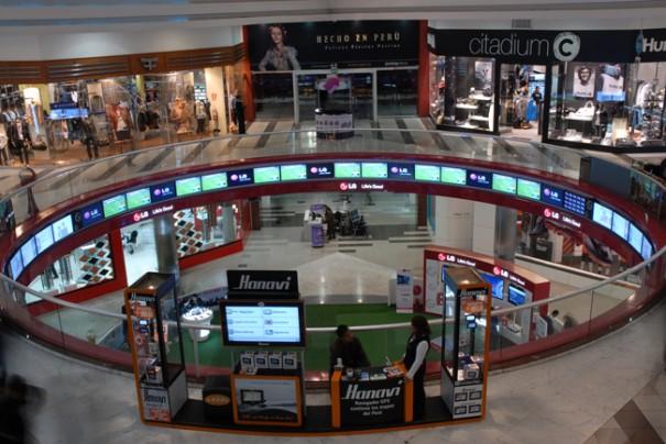 3) Espectacular montaje de videowall circular instalado en el Jockey Plaza de Perú con tecnología Onelan (Foto: Onelan).