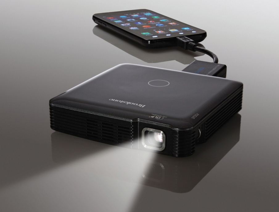 brookstone introduces a new pocket hdmi projector. Black Bedroom Furniture Sets. Home Design Ideas