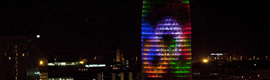 The Tower Agbar celebrates the opening of the games of London 2012 with a lighting special