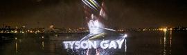 Gillette realiza un espectáculo de luz y agua para apoyar al equipo olímpico de EE.UU.