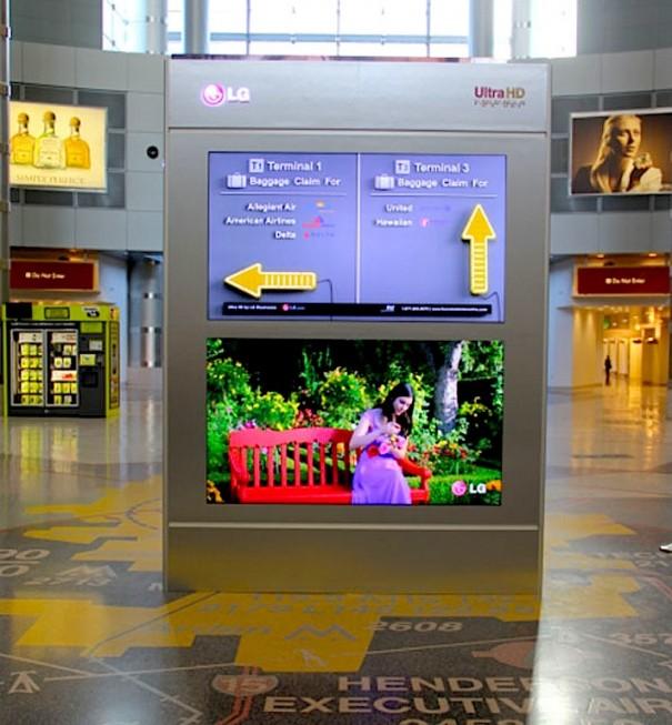 Digital Signage con display 4K de LG en el aeropuerto de Las Vegas
