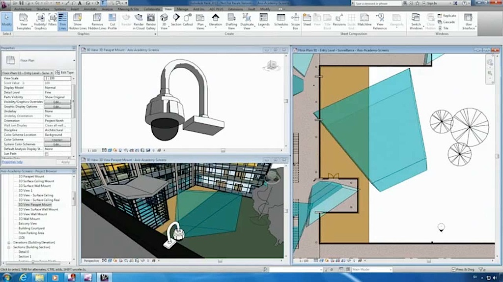 Content display interactive 3D Axis camera with Autodesk Revit