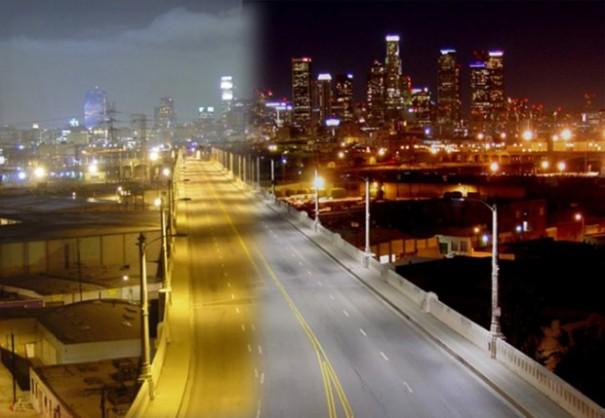 Ciudad iluminada con tecnologia LED