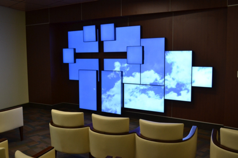 florida hospital relies on planar mosaic to install a videowall architectural in its chapel