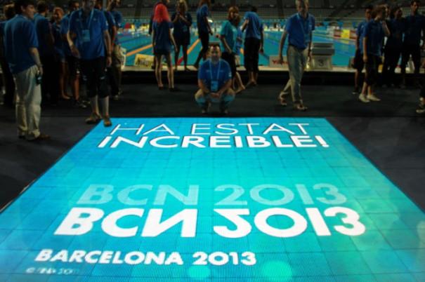 Sono en Mundiales Natacion Barcelona 2013