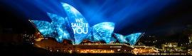 Espectacular proyección de vídeo en la Opera House y el puerto de Sydney para conmemorar el centenario de la flota australiana