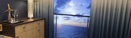 "Virtual balconies of 80 ""and in HD on Interior staterooms to enjoy the cruise in real time"