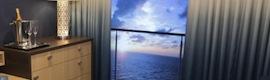"""Balcones virtuales de 80"""" y en HD en camarotes interiores para disfrutar del crucero en tiempo real"""