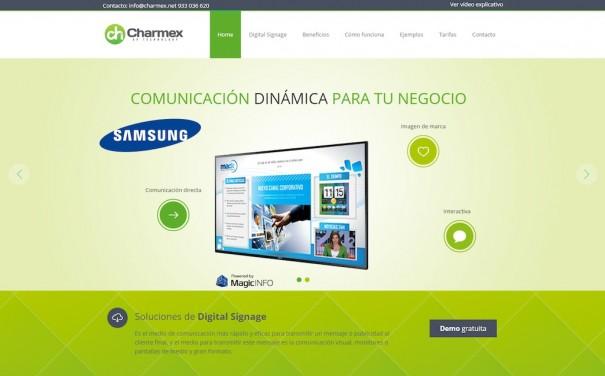 Charmex microsite digital signage