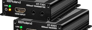 Roland HDBaseT converts the signals to HDMI with HT-TX01 and HT-RX01 for long distances