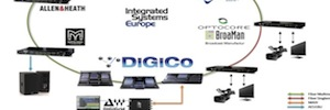 ISE 2015: DiGiCo connecting their consoles into a network partners stands Optocore/Broaman