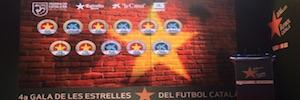 Un gran videowall instalado por Eikonos preside la Gala de las Estrellas del Fútbol Catalán