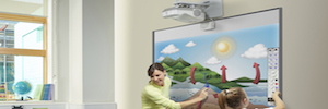 The Epson interactive projectors integrate the SMART Notebook software