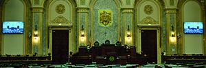 El Parlamento de Rumanía instala dos videowalls de eyevis en la sala de Plenos