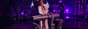 Lady Gaga acts the rhythm of Intel technology during the Grammy Awards