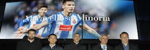 RCD Espanyol inaugura la pantalla Led gigante de Powerpixxel que mostrará publicidad en su fachada