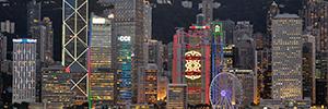 Una 'Sinfonía de luces' llena de vida todas las tardes la sede del HSBC en Hong Kong