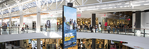 Charlestown shopping centre installed a rotating Led screen suspended ceiling