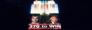 El Empire State se convierte en una enorme pantalla de noticias en la noche electoral