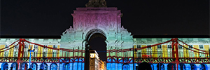 Christie projection and magic of Pandoras Box make possible the mapping 'faces Lisbon'