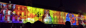Videomapping immersive full of lights and shadows Plaza Mayor in Madrid to celebrate its fourth centenary