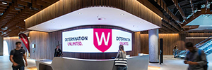 The new campus of the University of Western Sydney greets visitors with a curved large format Led display