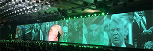 A spectacular production of light and color AV scene accompanied in the event pharmaceutical Libbs