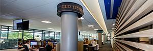 Cuatro pantallas NanoLumens ofrecen una estética de Wall Street al edificio comercial de LPL Financial