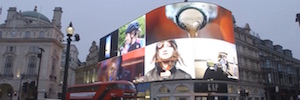 The iconic Piccadilly Circus London lights with new LED curved screen