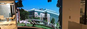 Una pantalla curva de Nanolumens atrae a los visitantes del centro McNamara Alumni
