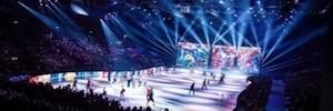 Escenografía digital multipantalla en torno a un espectáculo sobre hielo