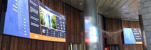 Realia reforma la entrada de su sede central con grandes pantallas Led curvas